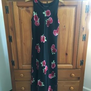 Hype Black Chiffon Long Print Sleeveless Dress 16